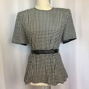 Vintage 90s classic houndstooth career blouse 6